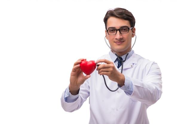 Docteur avec coeur isolé sur blanc Photo Premium