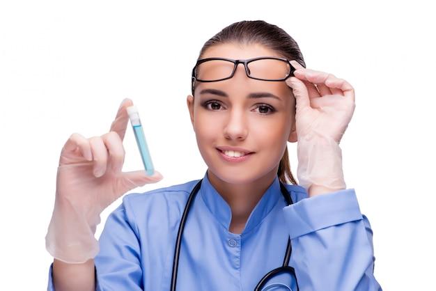 Docteur, tenue, tube, isolé, blanc Photo Premium
