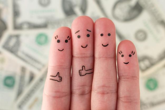 Doigts art de la famille beaucoup d'argent. Photo Premium