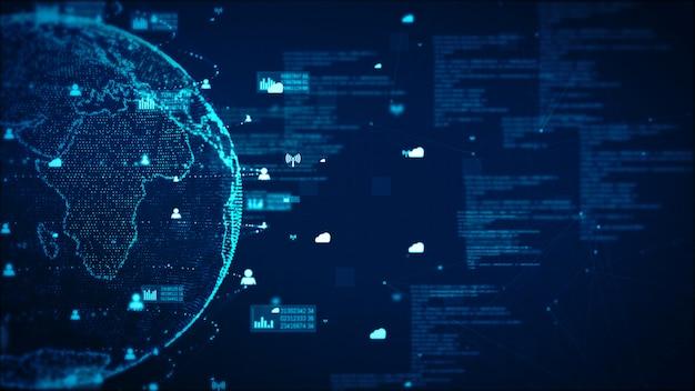 Données de réseau de technologie numérique et communication concept abstrait. élément de terre fourni par la nasa Photo Premium
