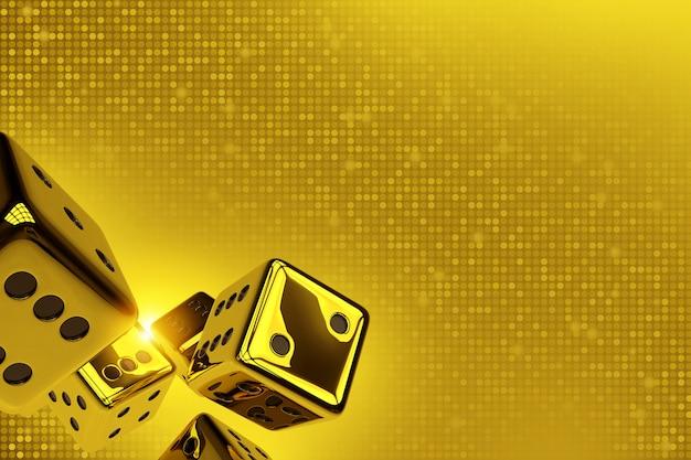Les dés dorés copient l'espace 3d render illustration. Photo Premium
