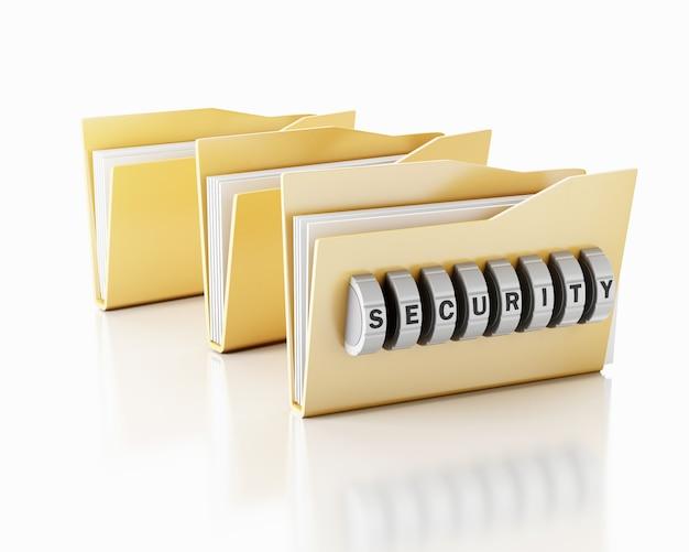 Dossier 3d avec combinaison de mot de passe. Photo Premium
