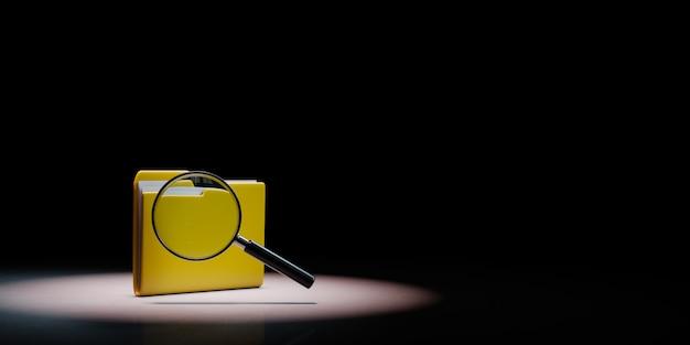 Dossier De Document Jaune Avec Loupe Sur Fond Noir Photo Premium
