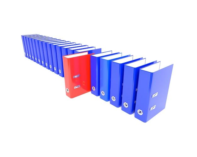 Dossier rouge dans la série bleue. illustration 3d Photo Premium