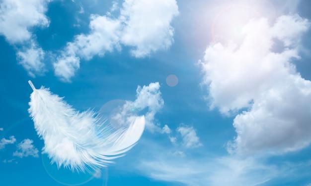 Douces plumes blanches flottant dans le ciel avec des nuages Photo Premium