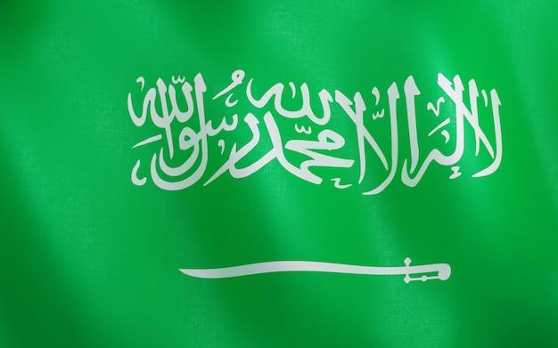 Drapeau 3d de l'arabie saoudite. Photo Premium