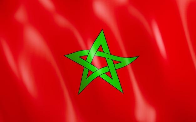 Drapeau 3d du maroc. Photo Premium