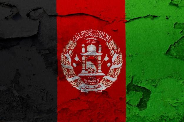 Drapeau Afghan, Peint, Sur, Grunge, Mur Fissuré Photo Premium