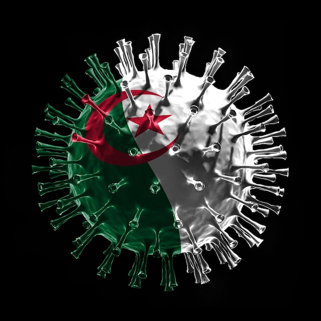 Le Drapeau De L'algérie Sur Covid-19 Est Un Concept De Virus. Rendu 3d Photo Premium