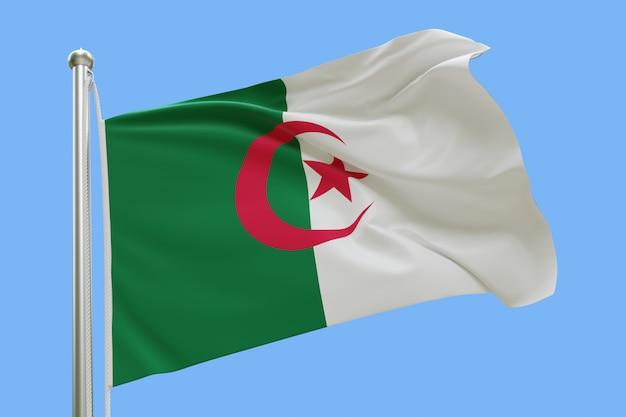 Drapeau De L'algérie Sur Mât Ondulant Dans Le Vent Isolé Sur Fond Bleu Photo Premium