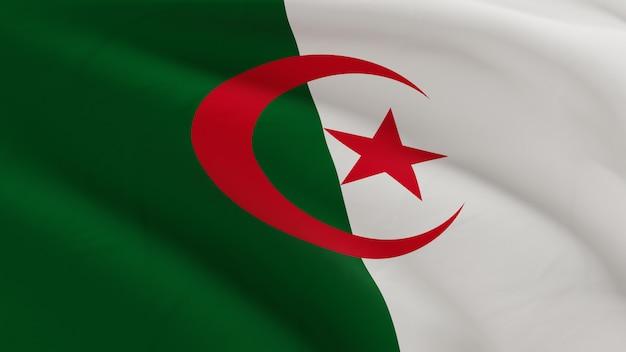 Drapeau De L'algérie Ondulant Dans Le Vent, Micro Texture De Tissu En Rendu 3d De Qualité Photo Premium