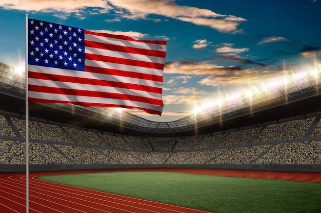 Drapeau Américain Devant Un Stade D'athlétisme Avec Des Fans. Photo gratuit