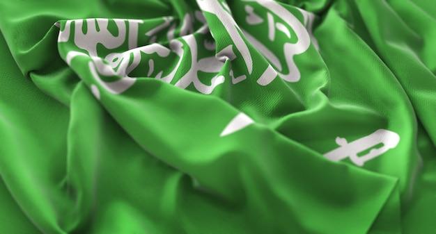 Drapeau de l'arabie saoudite ruffled beautifully waving macro plan rapproché Photo gratuit