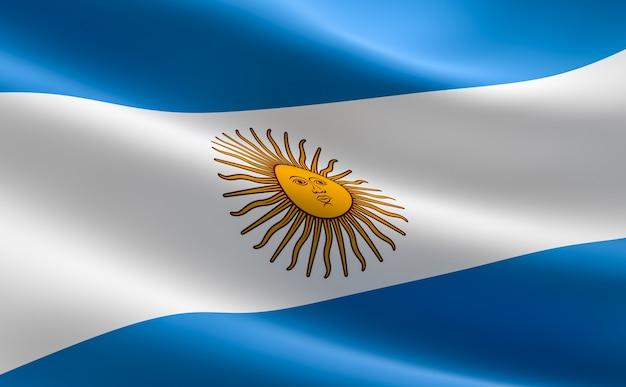 Drapeau De L'argentine. Illustration Du Drapeau Argentin Ondulant. Photo Premium