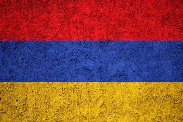 Drapeau Arménie Peint Sur Le Mur De Grunge Photo Premium