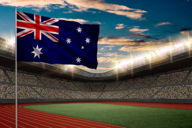 Drapeau Australien Devant Un Stade D'athlétisme Avec Des Fans. Photo gratuit