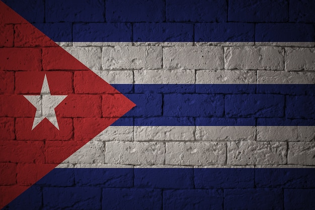 Drapeau Aux Proportions Originales. Gros Plan Du Drapeau Grunge De Cuba Photo Premium