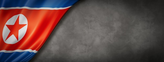 Drapeau De La Corée Du Nord Sur Mur De Béton. Bannière Panoramique Horizontale. Illustration 3d Photo Premium