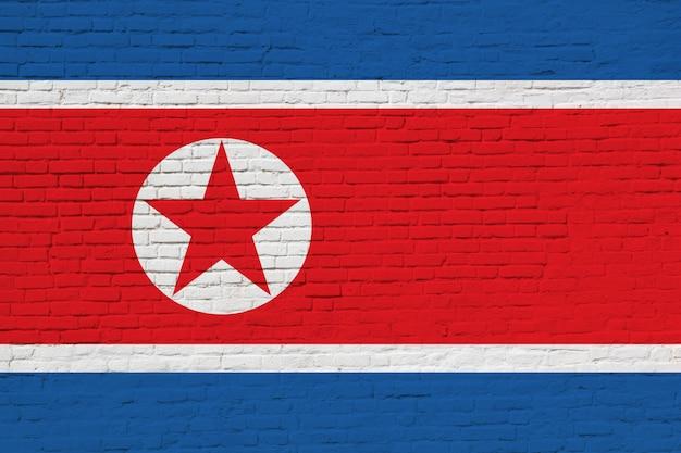 Drapeau De La Corée Du Nord Peint Sur Mur De Briques. Photo Premium