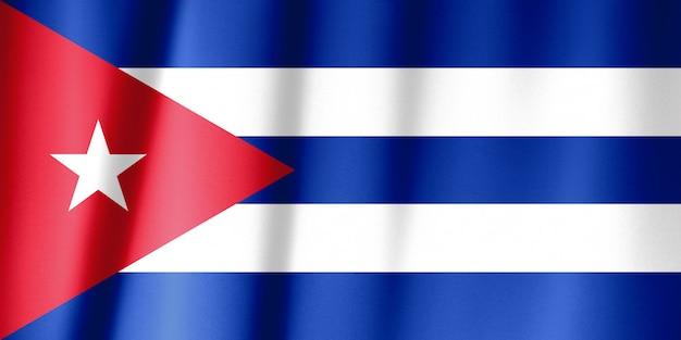 Drapeau De Cuba Sur Un Drap De Soie Ondulant Photo Premium