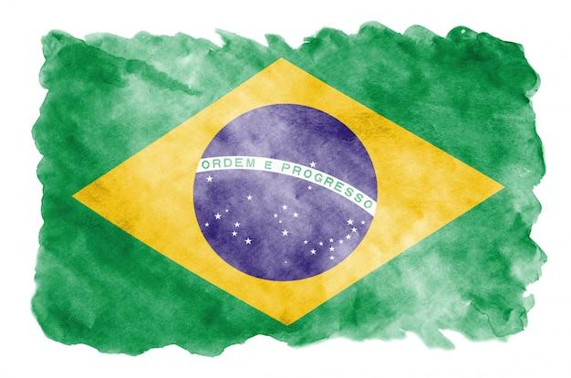 Le drapeau du brésil est représenté dans un style aquarelle liquide isolé sur blanc Photo Premium