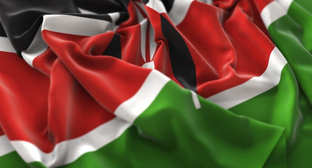 Drapeau du kenya ruffled beautifully waving macro plan rapproché Photo gratuit