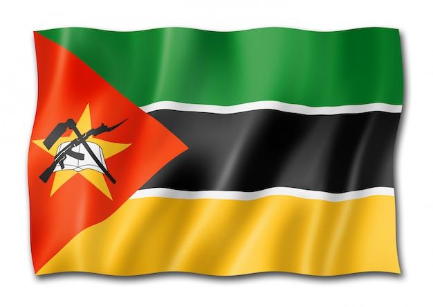 Drapeau Du Mozambique Isolé Sur Blanc Photo Premium
