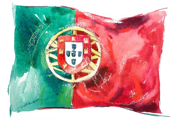 Drapeau Du Portugal Peint à L'aquarelle Photo Premium