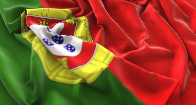 Drapeau Du Portugal Ruffled Magnifiquement Waving Macro Plan Rapproché Photo gratuit