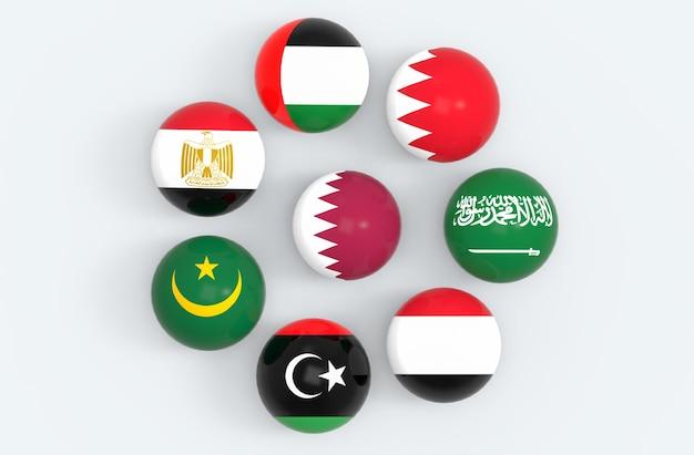 Le drapeau du qatar entoure de quelques balles sphériques. Photo Premium