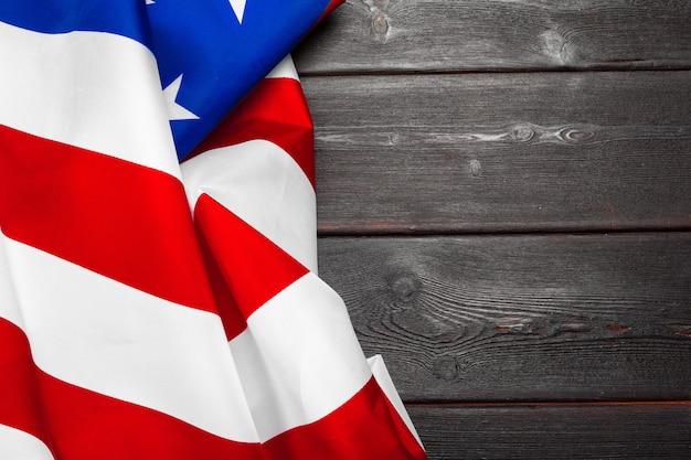 Drapeau des états-unis d'amérique sur bois Photo Premium