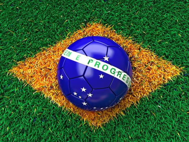 Drapeau d'herbe du brésil Photo Premium