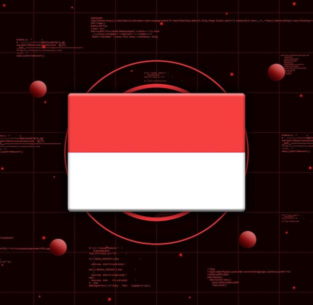 Drapeau De L'indonésie Avec Des éléments Technologiques Réalistes, Rendu 3d Photo Premium