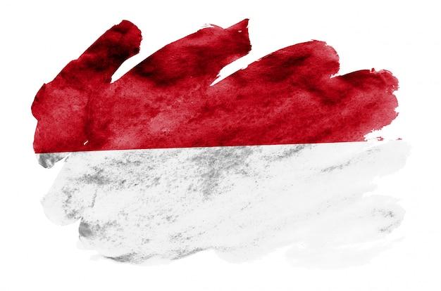 Le drapeau de l'indonésie est représenté dans un style aquarelle liquide isolé sur blanc Photo Premium