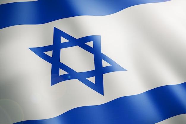 Le Drapeau D'israël Avec Les Lignes Bleues Et L'étoile Bleue Photo Premium