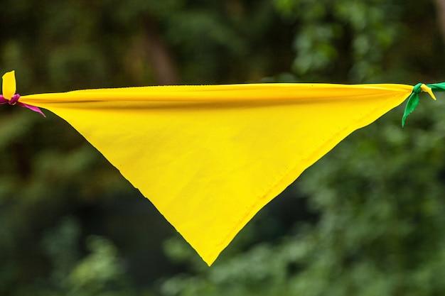 Drapeau jaune d'une guirlande dans le parc Photo Premium