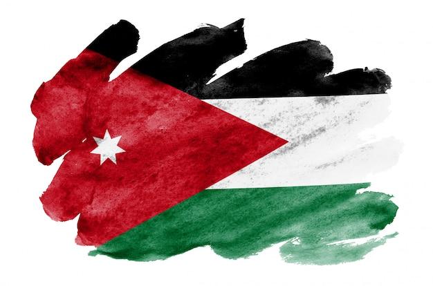 Le drapeau de la jordanie est représenté dans un style aquarelle liquide isolé sur blanc Photo Premium