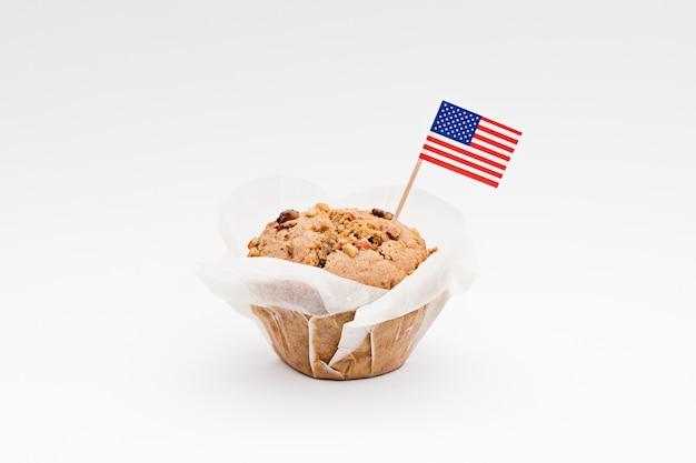 Drapeau miniature d'amérique usa avec cupcake sucré Photo Premium