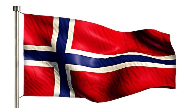 Drapeau national de norvège isolé fond blanc 3d Photo gratuit