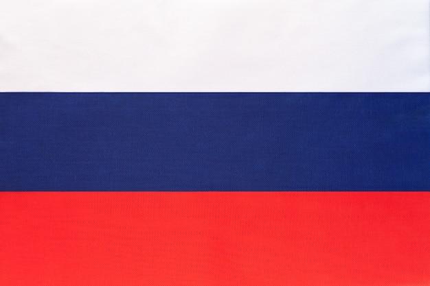 Drapeau national de tissu de russie fond textile Photo Premium