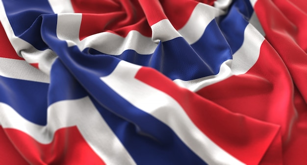Drapeau de la norvège ruffled beautifully waving macro plan rapproché Photo gratuit