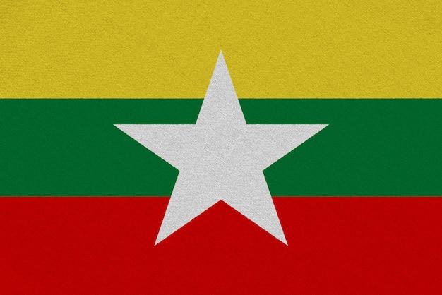 Drapeau Tissu Birmanie Photo Premium