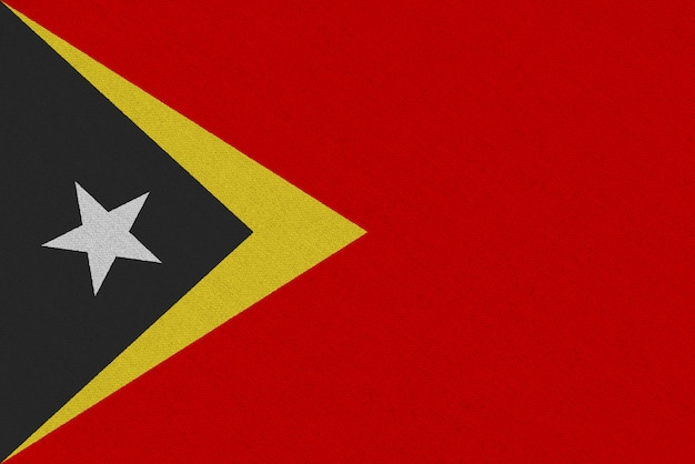 Drapeau En Tissu Timor Oriental Photo Premium