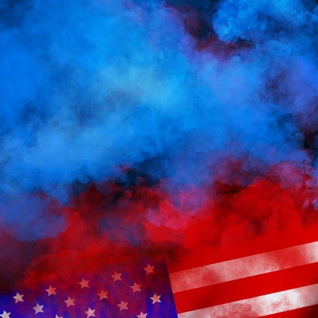 Drapeau Usa Design Mural Pour L'indépendance, Les Anciens Combattants, Le Travail, Le Jour Du Souvenir. Fumée Colorée Sur Mur Noir Photo Premium