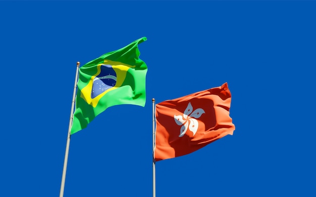 Drapeaux Du Brésil Et De Hong Kong Hk. Photo Premium