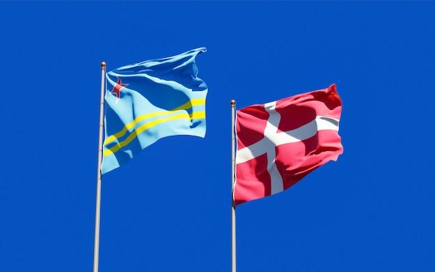 Drapeaux Du Danemark Et D'aruba. Photo Premium