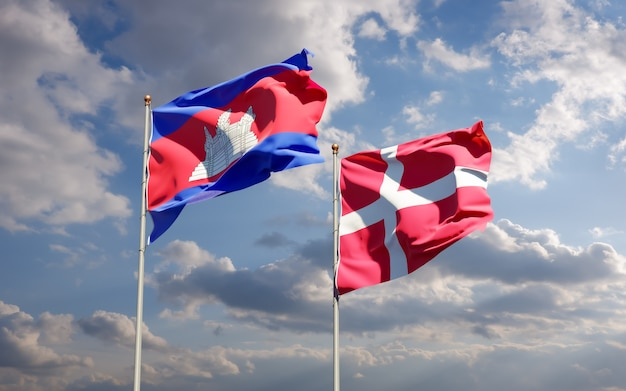 Drapeaux Du Danemark Et Du Cambodge Photo Premium