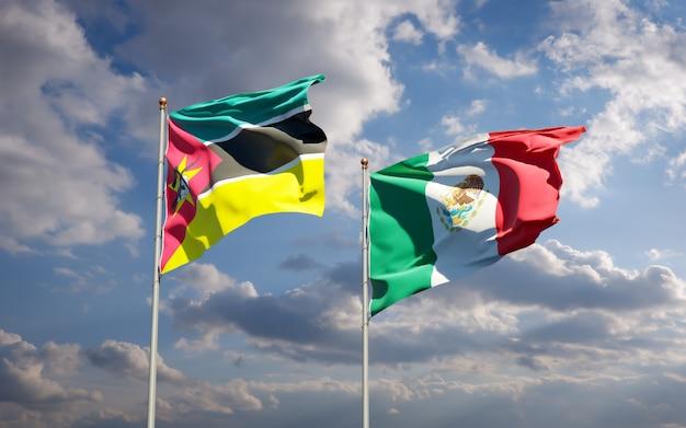 Drapeaux Du Mozambique Et Du Mexique. Illustration 3d Photo Premium