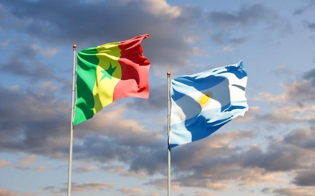Drapeaux Du Sénégal Et De L'argentine. Photo Premium