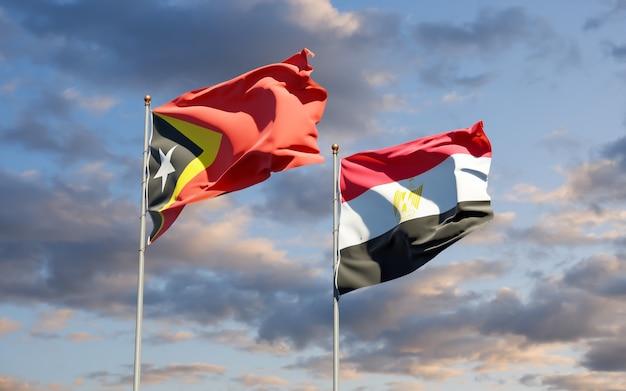 Drapeaux Du Timor Oriental Et De L'égypte. Illustration 3d Photo Premium
